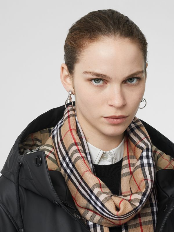 Embroidered Vintage Check Lightweight Cashmere Scarf in Camel | Burberry Australia - cell image 2