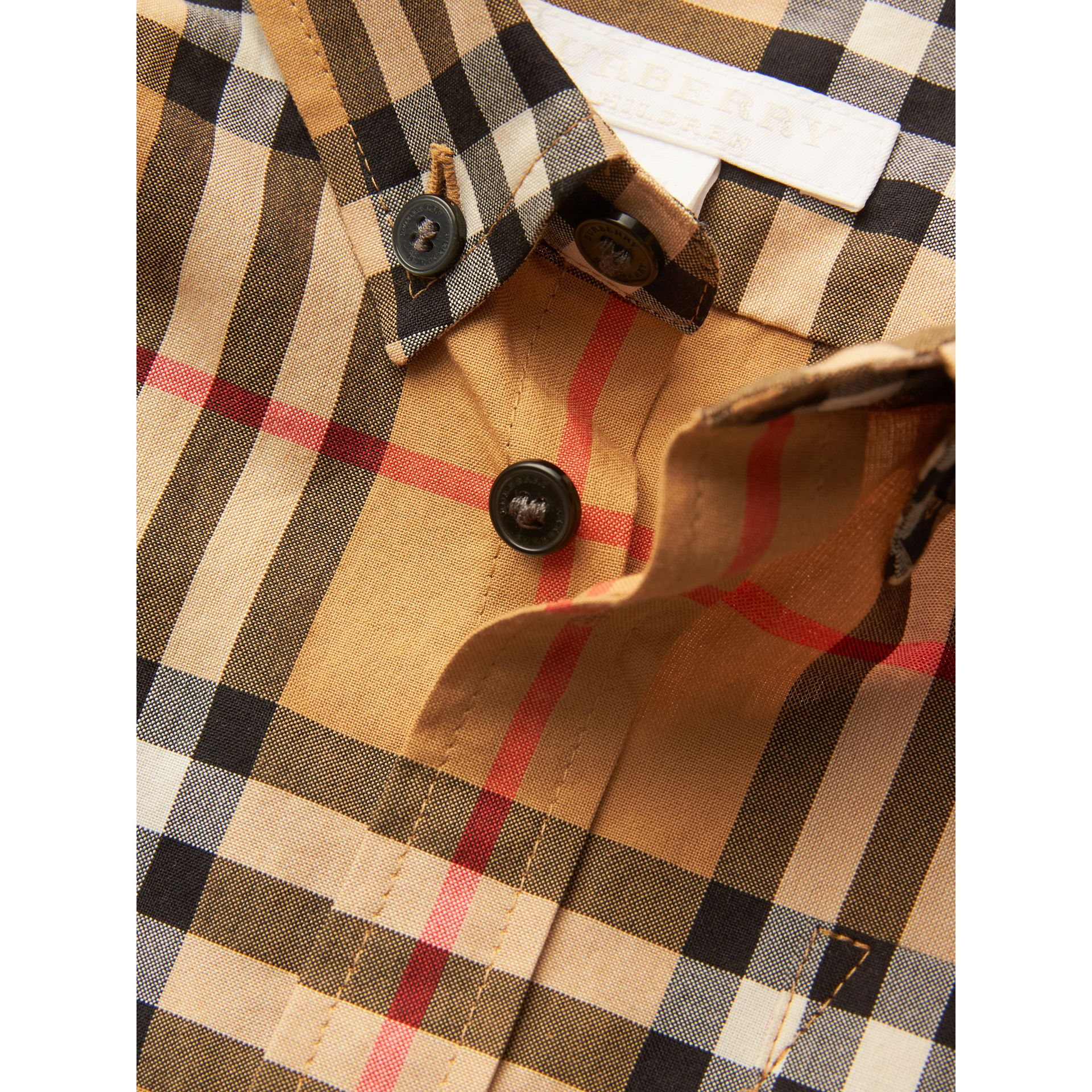 Button-down Collar Vintage Check Shirt in Antique Yellow - Boy | Burberry United Kingdom - gallery image 1