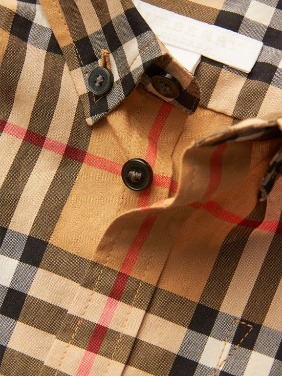 Camicia con motivo Vintage check e colletto button-down (Giallo Antico) | Burberry - cell image 1