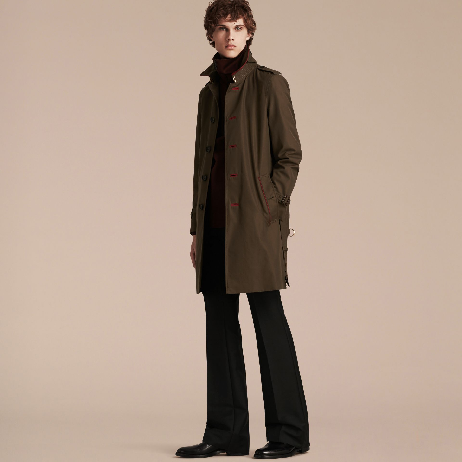 Dark khaki green Military Detail Cotton Trench Coat - gallery image 7