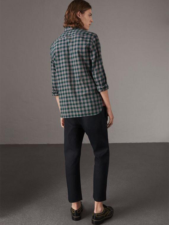 Tartan Cotton Oxford Shirt in Pine Green - Men | Burberry Hong Kong - cell image 2