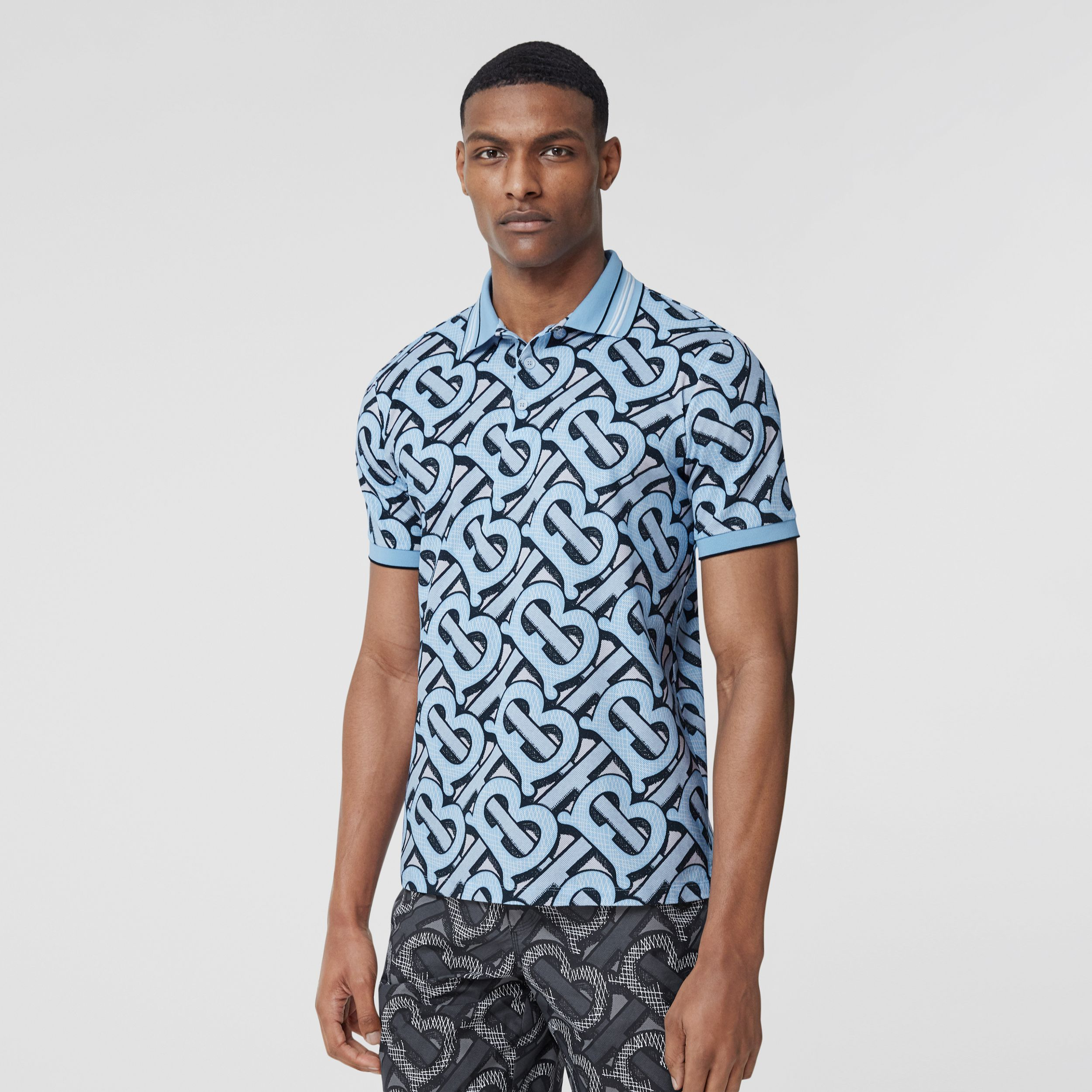 Monogram Print Cotton Piqué Polo Shirt – Unisex in Pale Azure | Burberry - 3