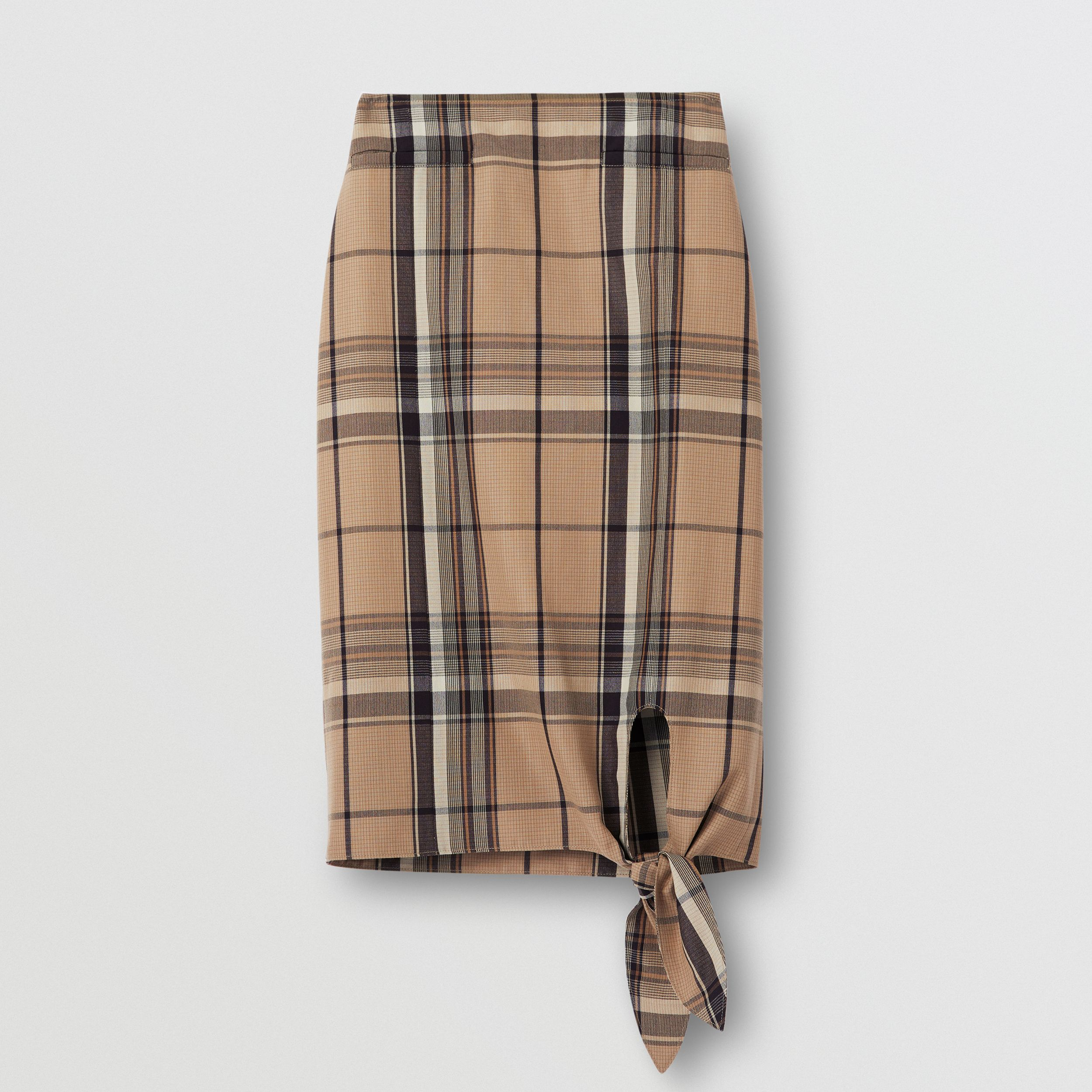 Knot Detail Check Wool Pencil Skirt in Driftwood - Women | Burberry - 4