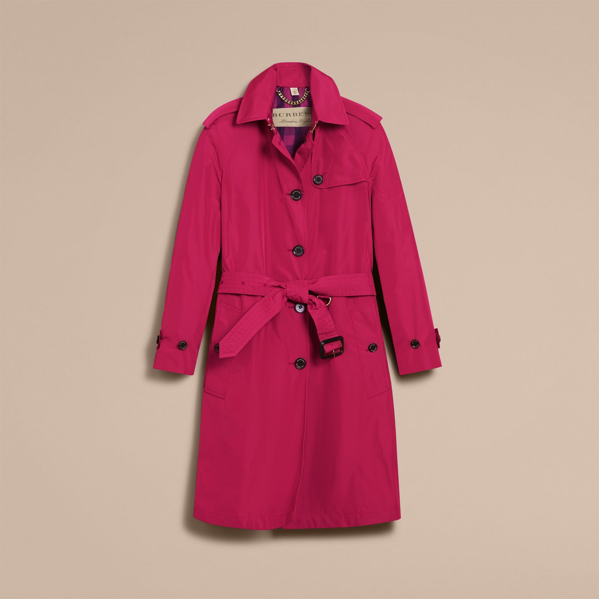 Single-breasted Technical Trench Coat Damson Magenta - gallery image 4