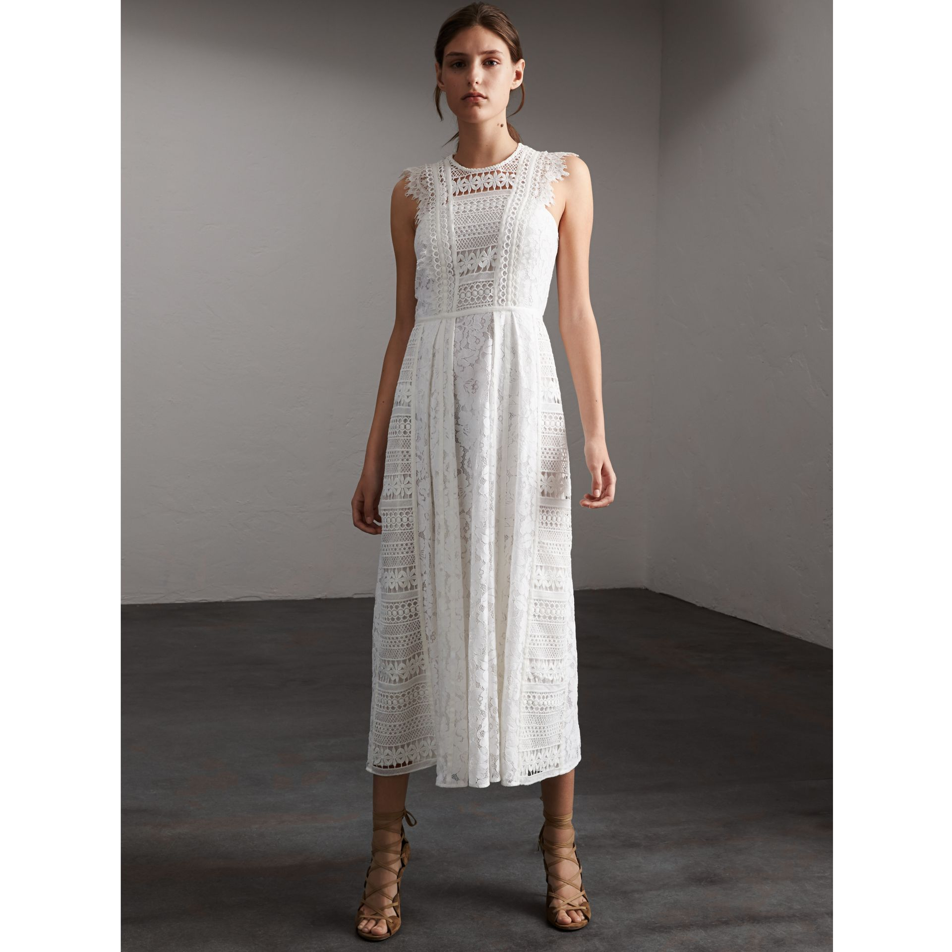 Sleeveless Macramé Lace Dress in White - Women | Burberry - gallery image 1
