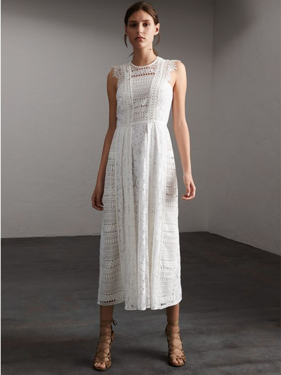 Sleeveless Macramé Lace Dress - Women | Burberry Australia