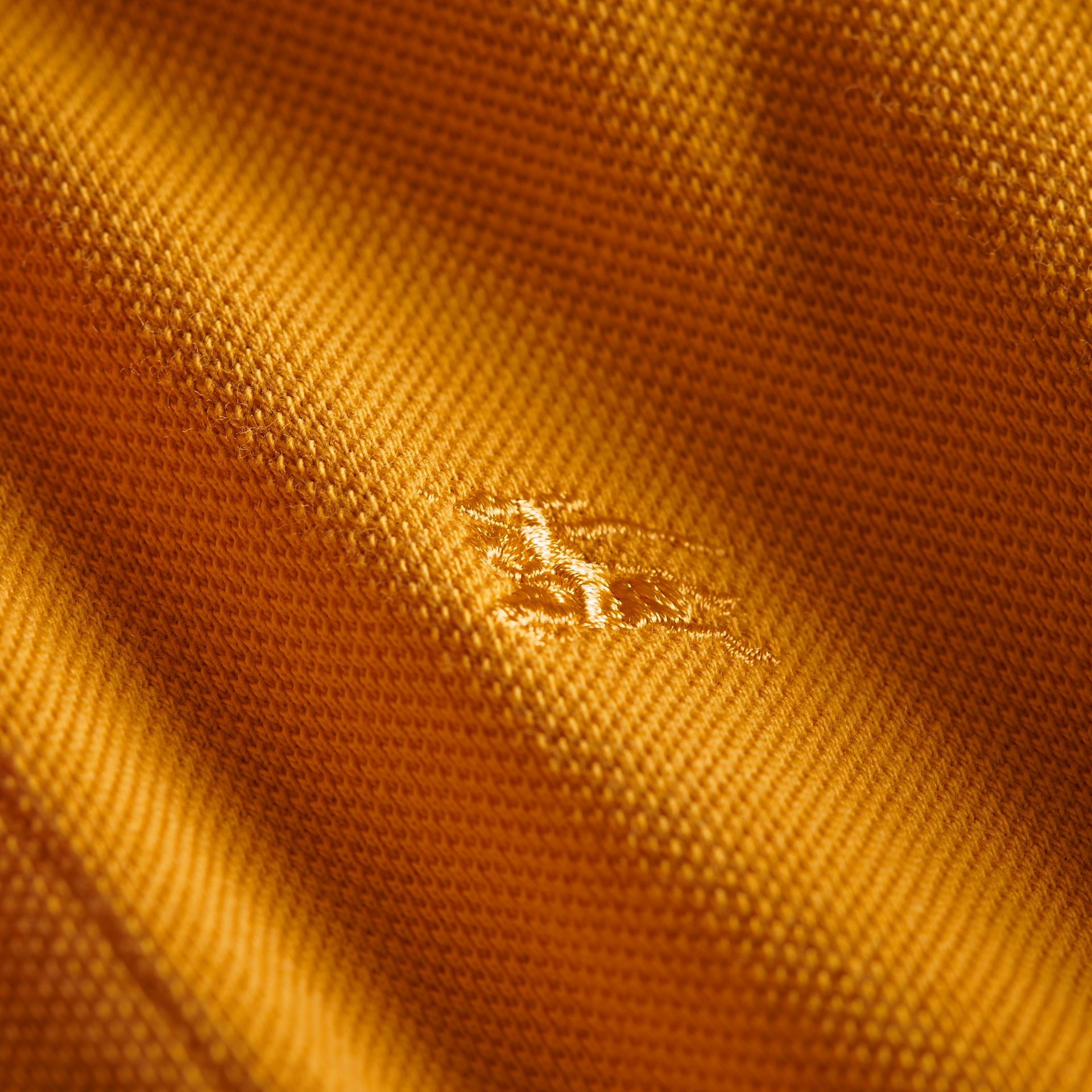 Check Placket Polo Shirt in Amber Yellow - Boy | Burberry - gallery image 2
