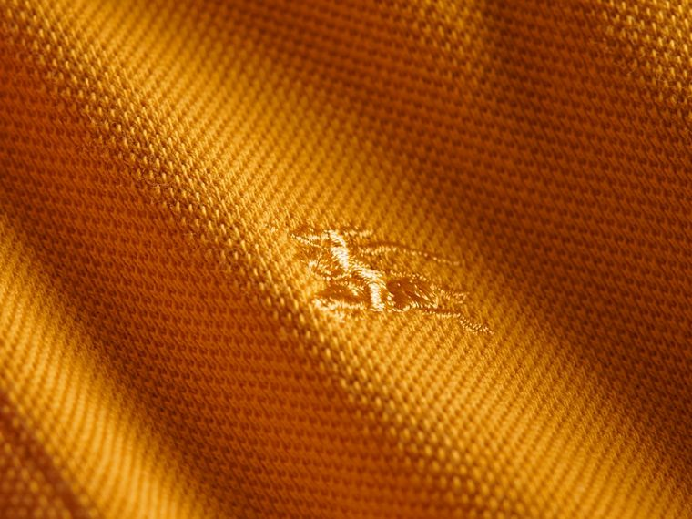 Check Placket Polo Shirt in Amber Yellow - Boy | Burberry - cell image 1
