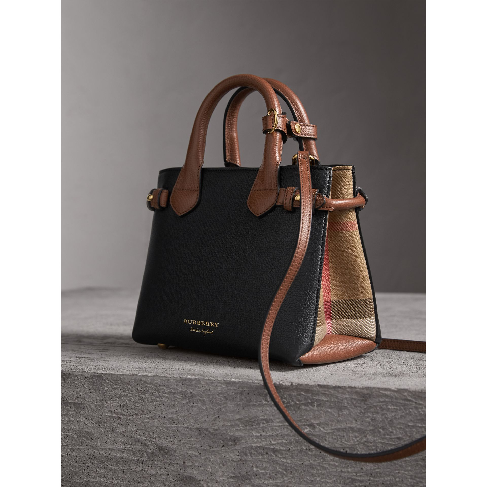 The Baby Banner in Leather and House Check in Black/tan - Women | Burberry United States - gallery image 7