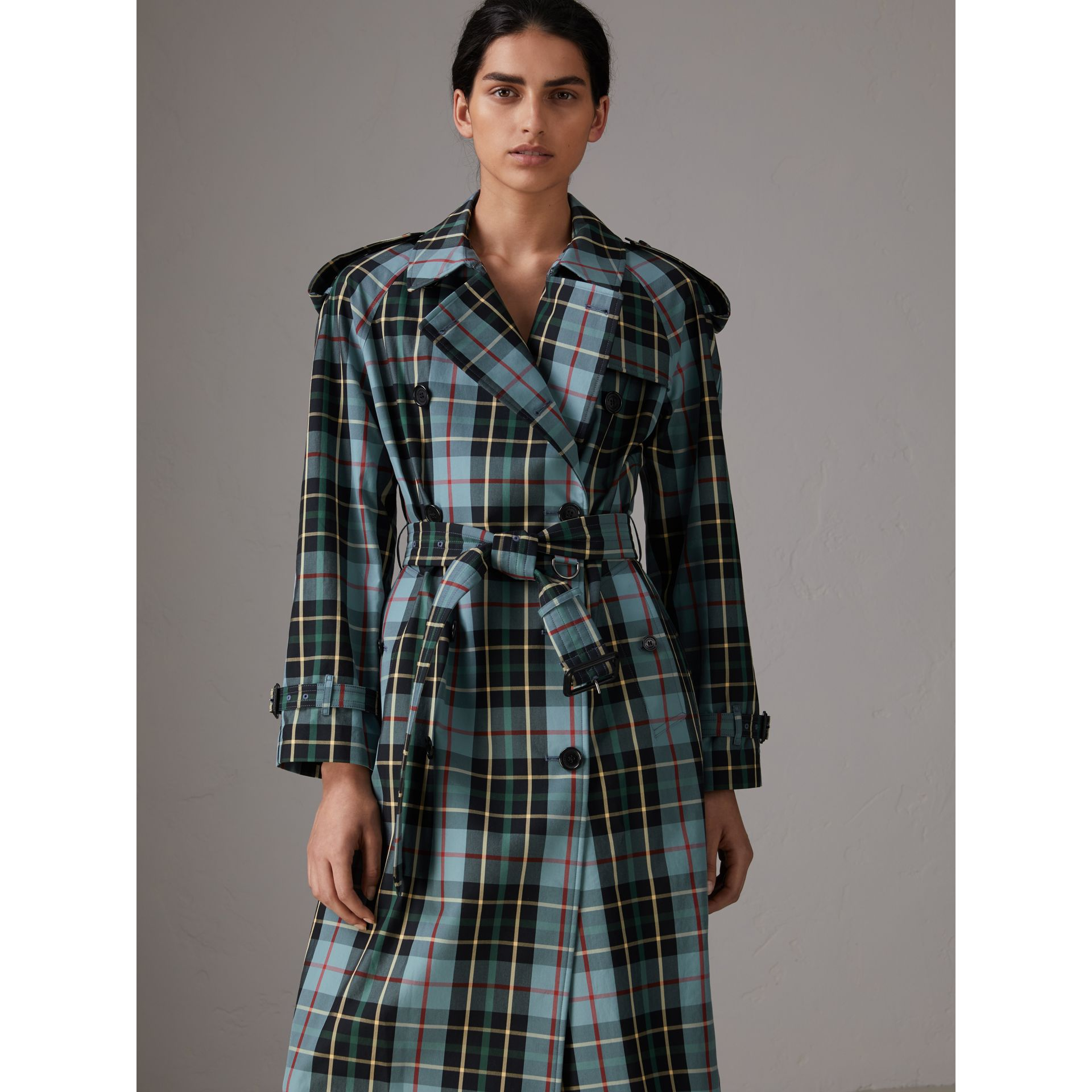 Tartan Cotton Gabardine Trench Coat in Cyan Blue - Women | Burberry - gallery image 0