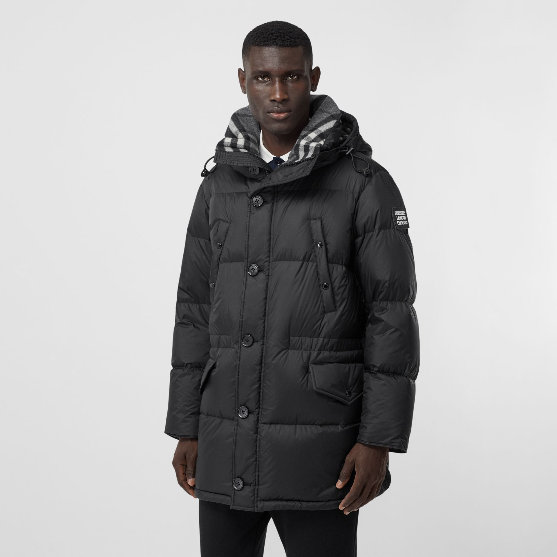 Logo Detail Hooded Puffer Coat in Black - Men | Burberry - gallery image 6
