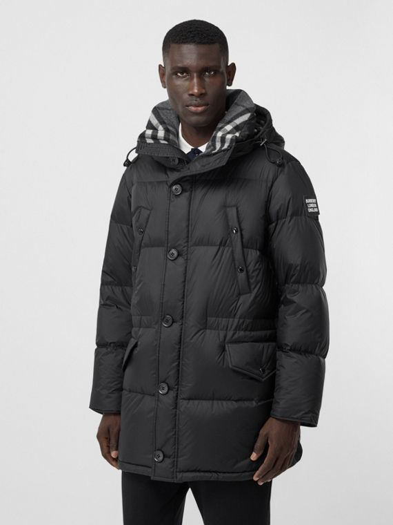 Logo Detail Hooded Puffer Coat in Black