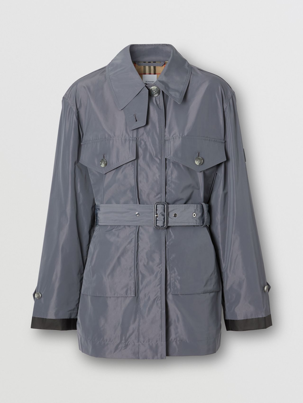 Shape-memory Taffeta Belted Jacket in Steel Grey