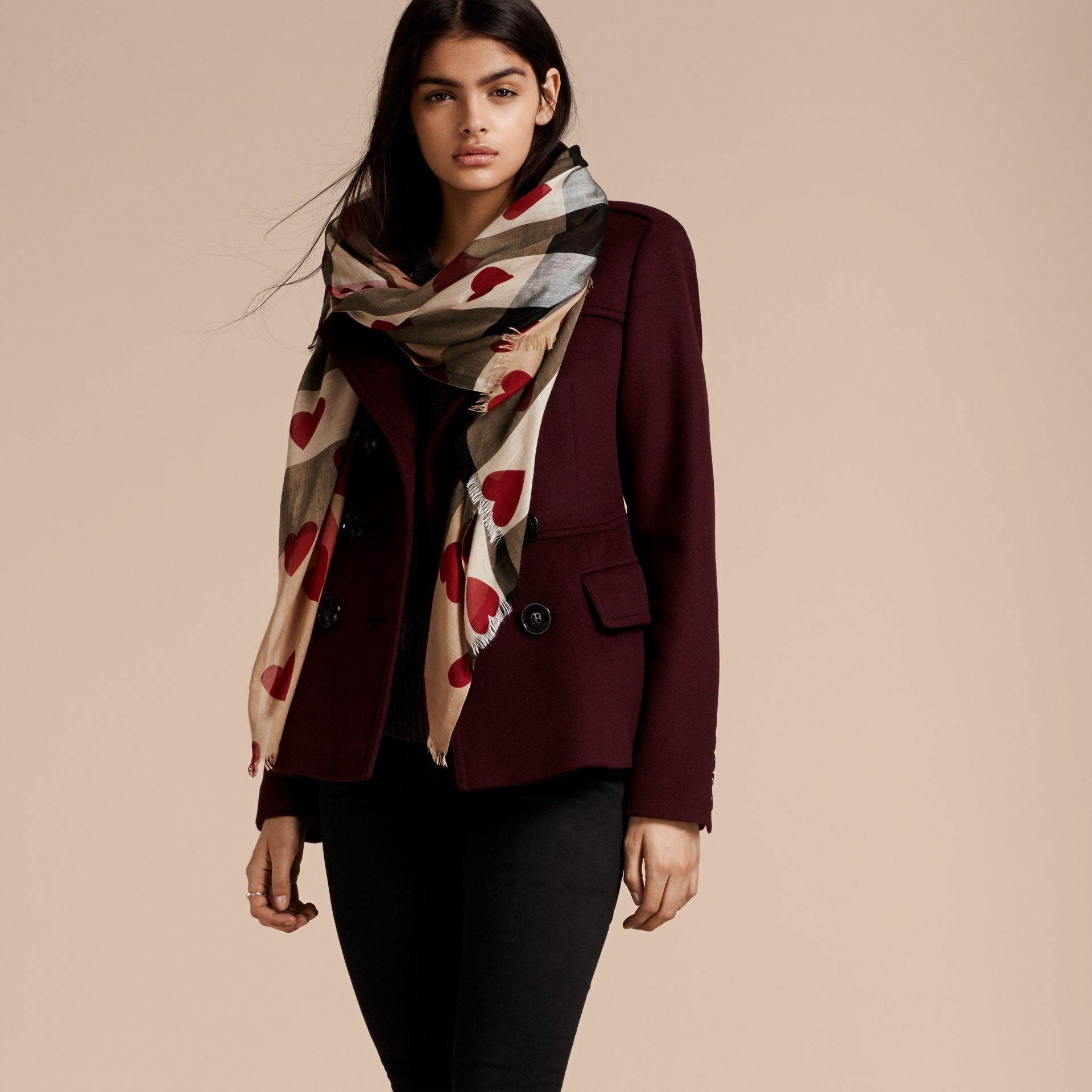 Heart and Check Modal and Cashmere Scarf in Camel/red - Women | Burberry Hong Kong - gallery image 3
