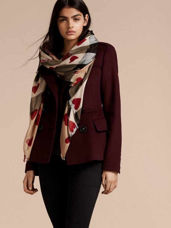 Heart and Check Modal and Cashmere Scarf in Camel/red - Women | Burberry - cell image 2