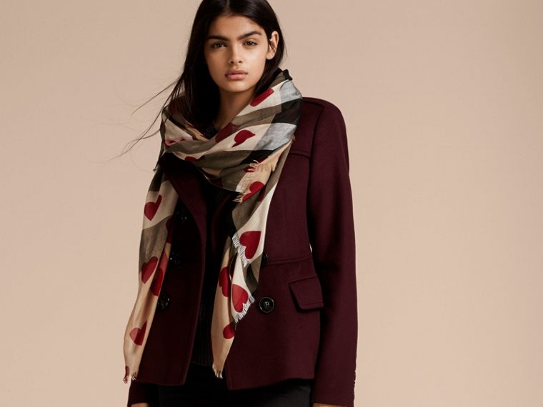 Heart and Check Modal and Cashmere Scarf in Camel/red - Women | Burberry Hong Kong - cell image 2