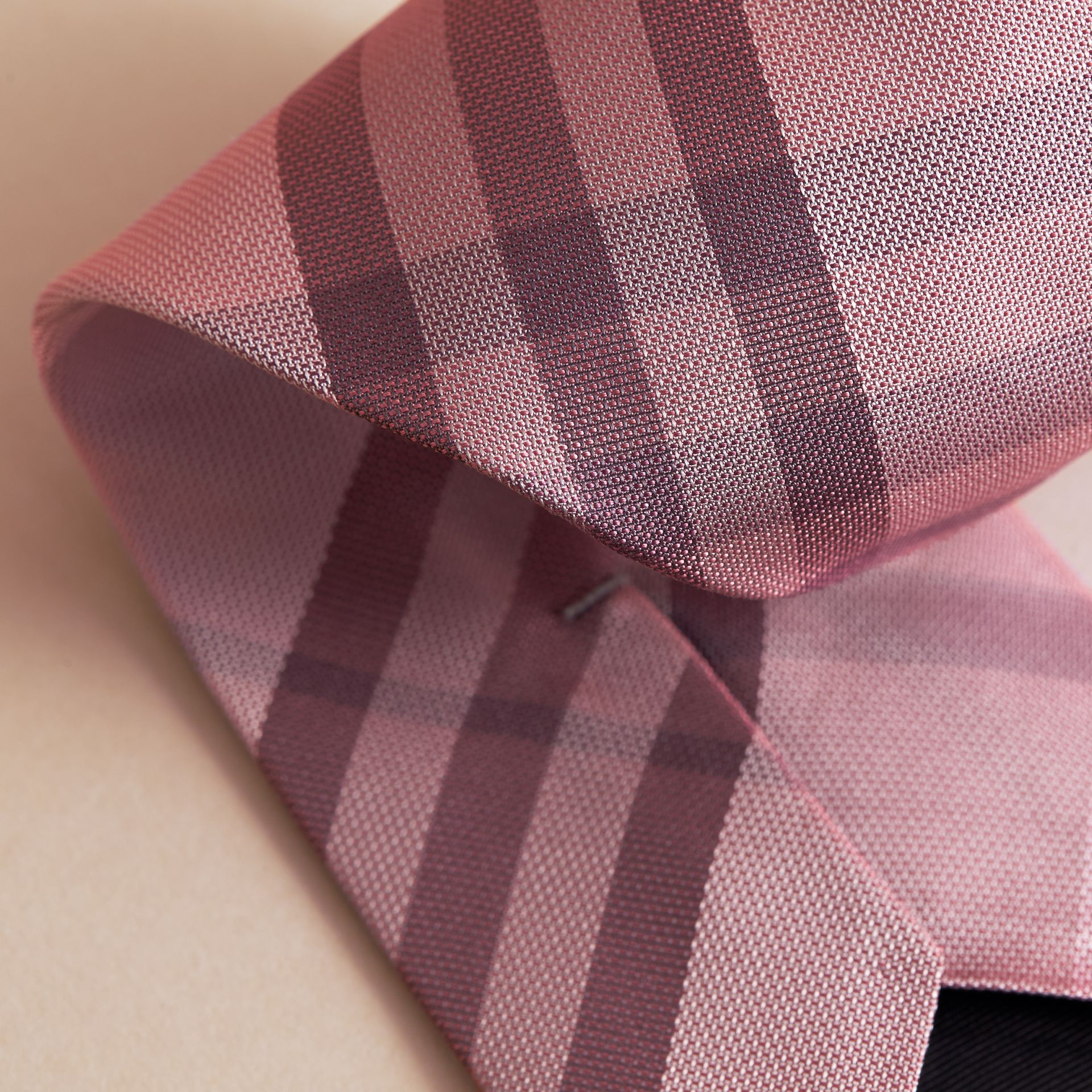 Modern Cut Check Silk Tie in Pink Heather - gallery image 2