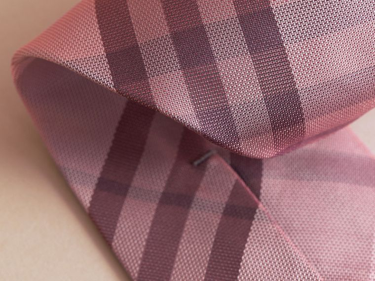 Modern Cut Check Silk Tie in Pink Heather - cell image 1