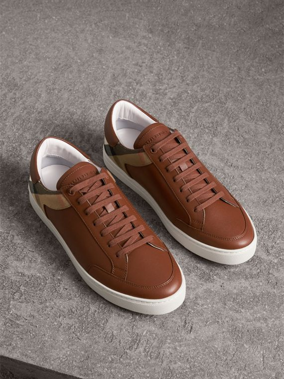 Leather and House Check Trainers in Check/bright Camel