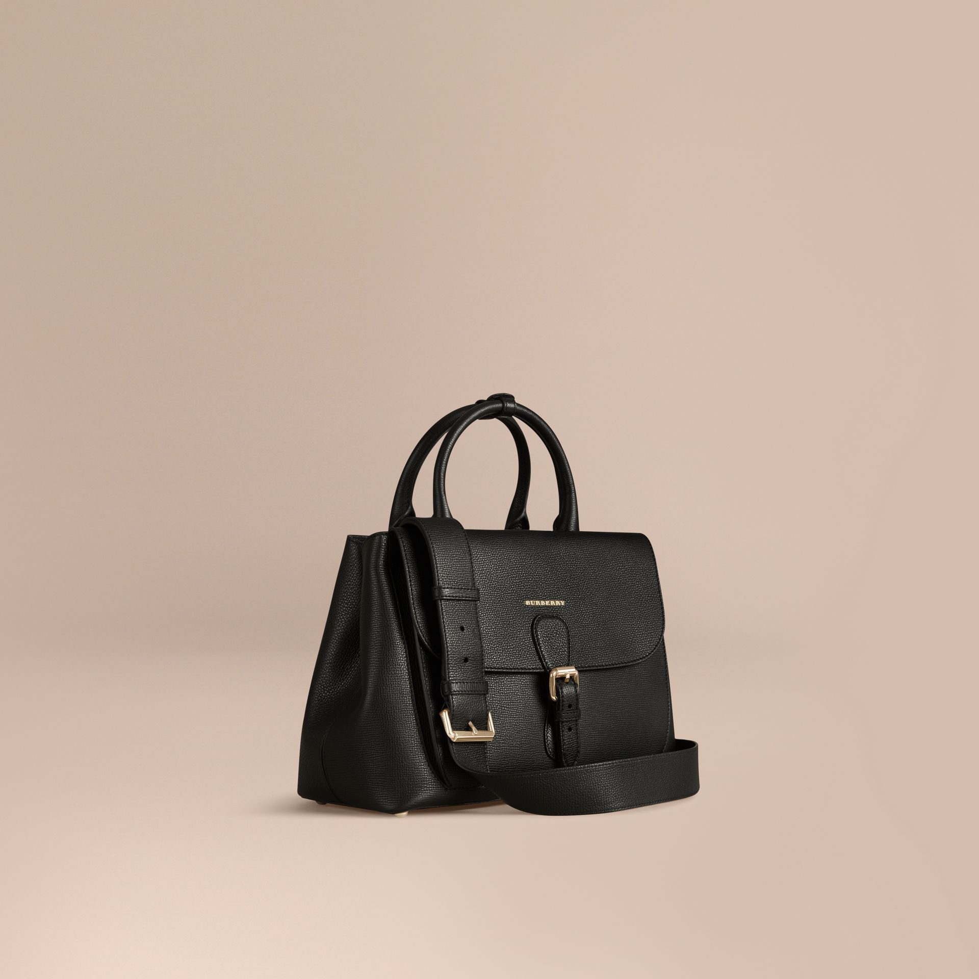 Black The Medium Saddle Bag in Grainy Bonded Leather Black - gallery image 1