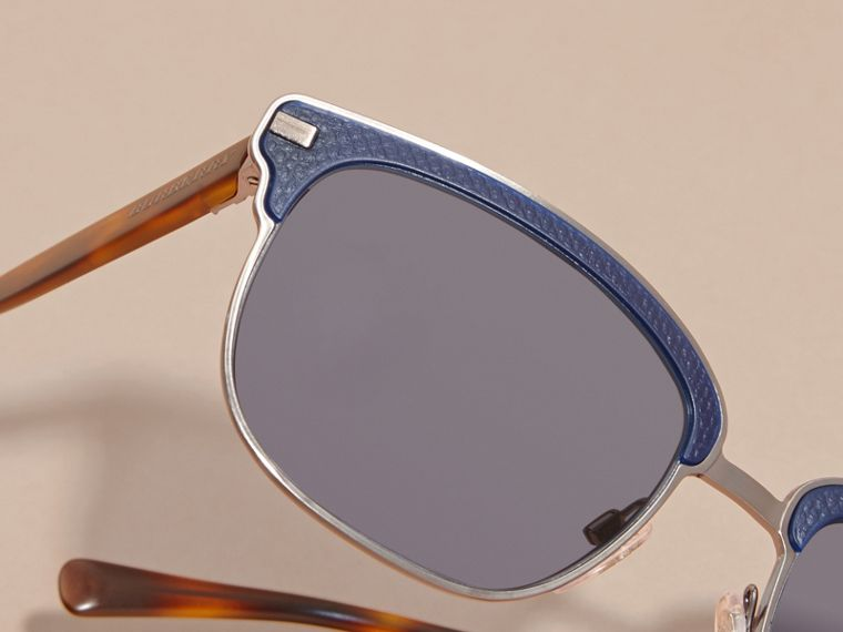 Textured Front Square Frame Sunglasses in Dark Navy - Men | Burberry - cell image 4