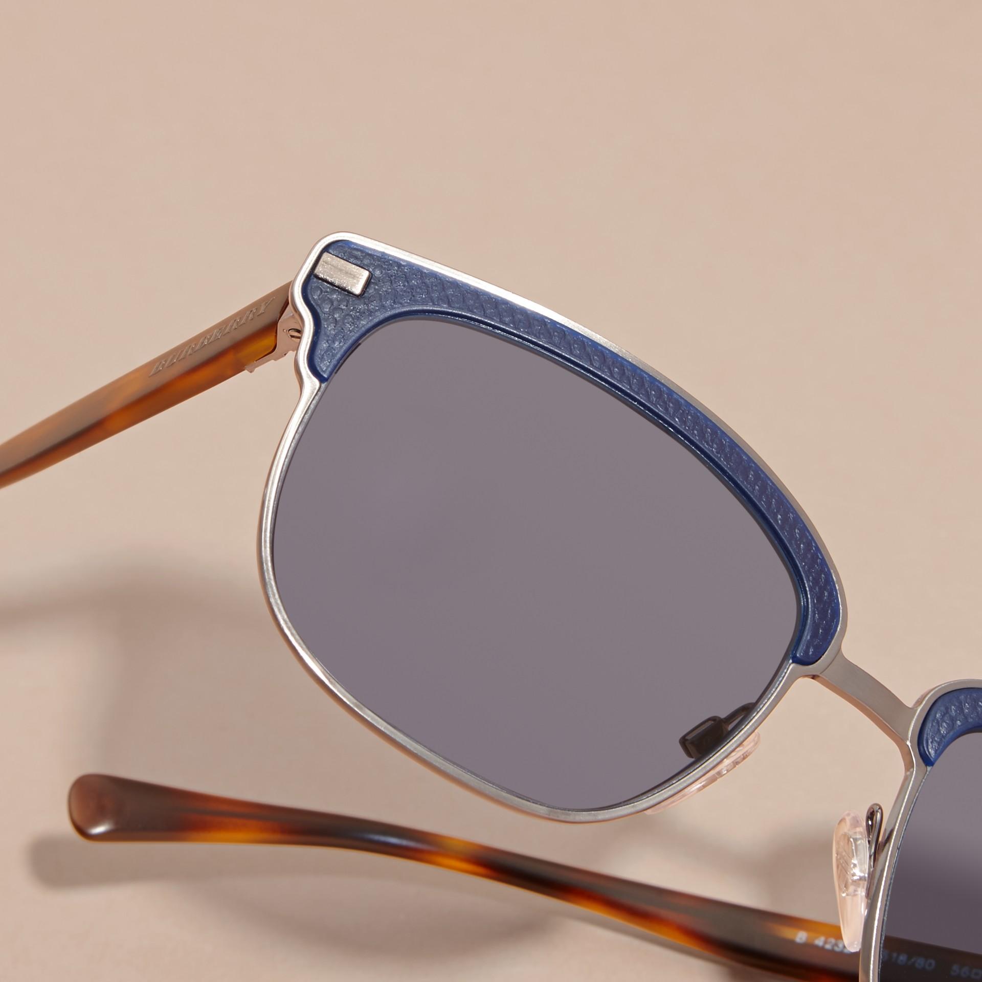 Burberry Glasses Frames Australia : Textured Front Square Frame Sunglasses in Dark Navy - Men ...