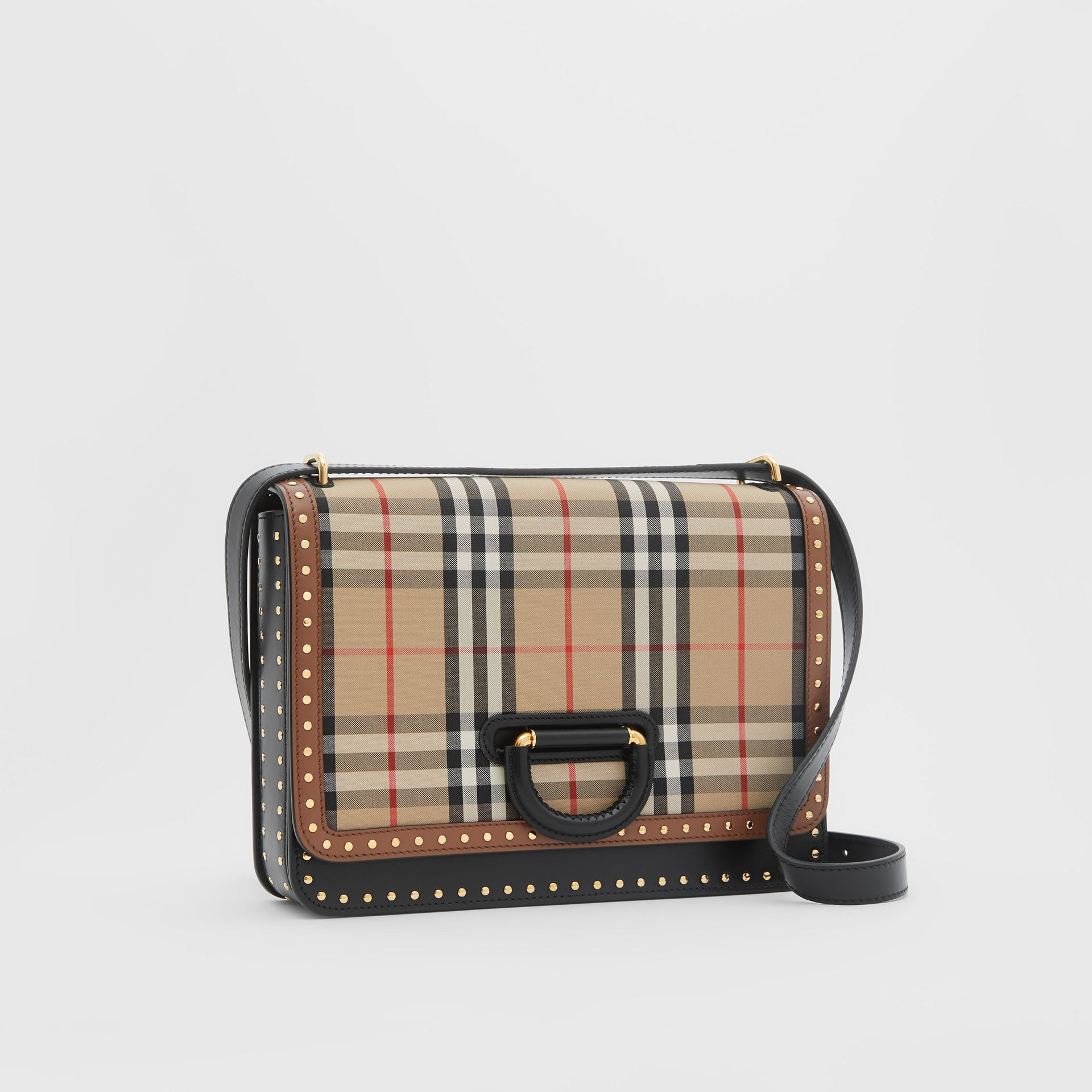 The Medium Leather and Vintage Check D-ring Bag in Archive Beige - Women | Burberry - gallery image 4