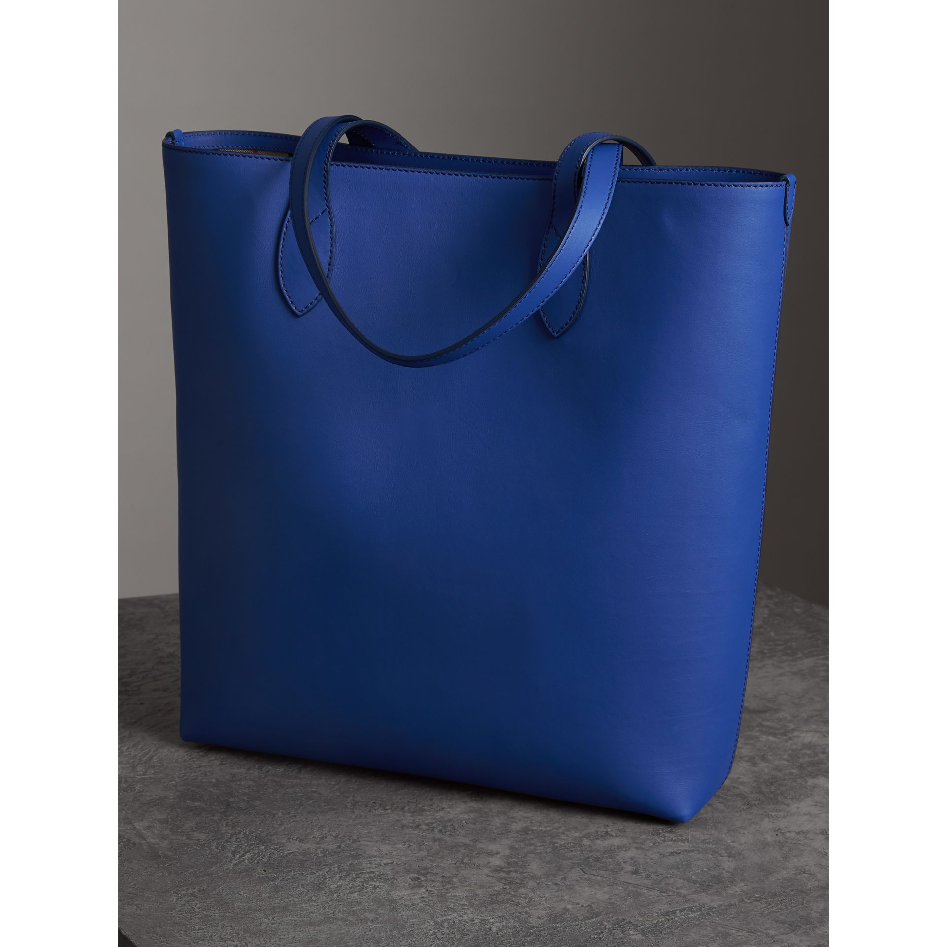 Graffiti Print Bonded Leather Tote in Denim Blue | Burberry - gallery image 2