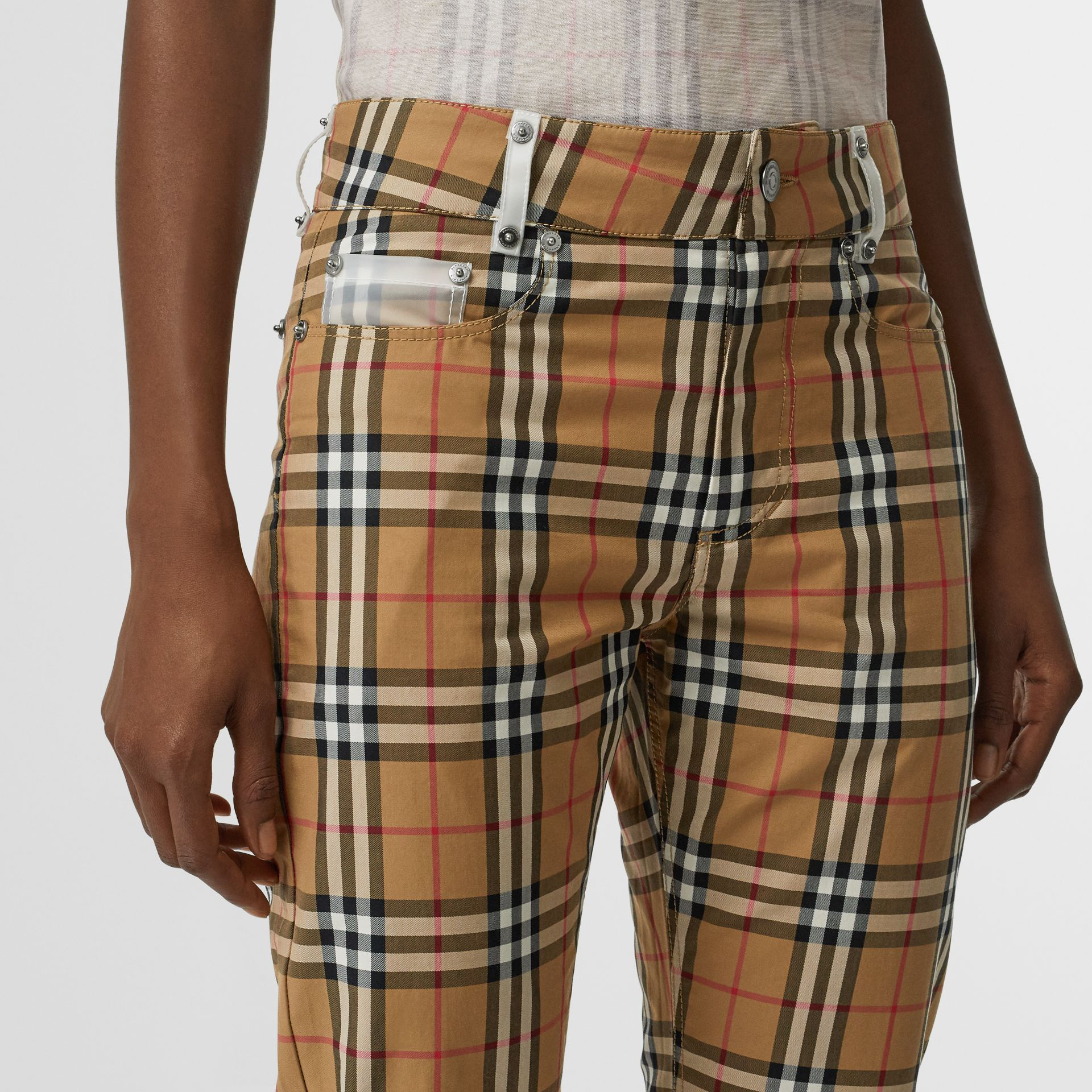 Zip Detail Vintage Check Cotton Trousers in Antique Yellow - Women | Burberry - gallery image 1