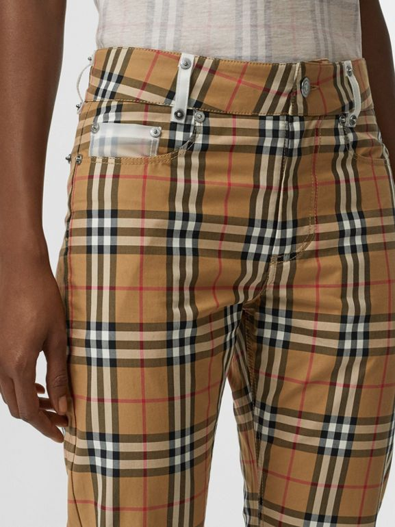 Zip Detail Vintage Check Cotton Trousers in Antique Yellow | Burberry - cell image 1