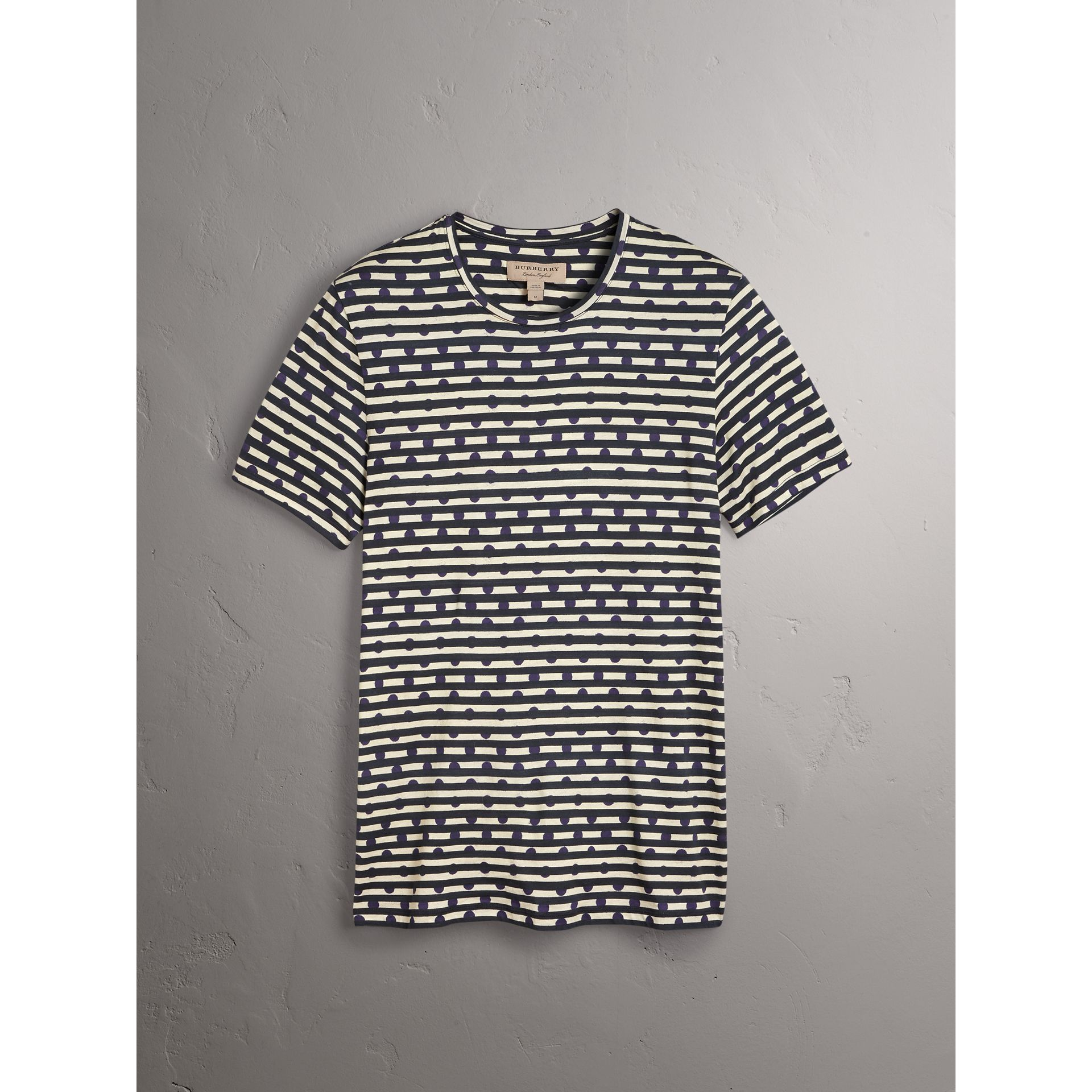 Spot and Stripe Print Cotton T-shirt in Navy - Men | Burberry - gallery image 3
