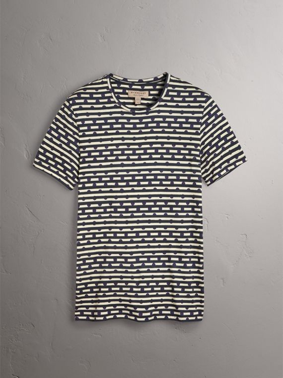 Spot and Stripe Print Cotton T-shirt in Navy - Men | Burberry - cell image 3