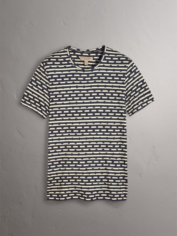 T-shirt in cotone con stampa a righe e pois (Navy) - Uomo | Burberry - cell image 3