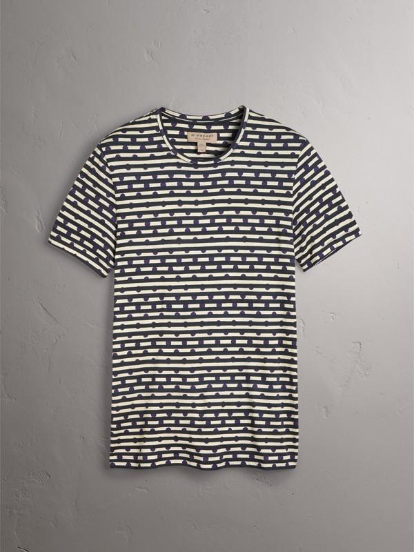 Camiseta de algodão com estampa de listras e poás (Azul Marinho) - Homens | Burberry - cell image 3