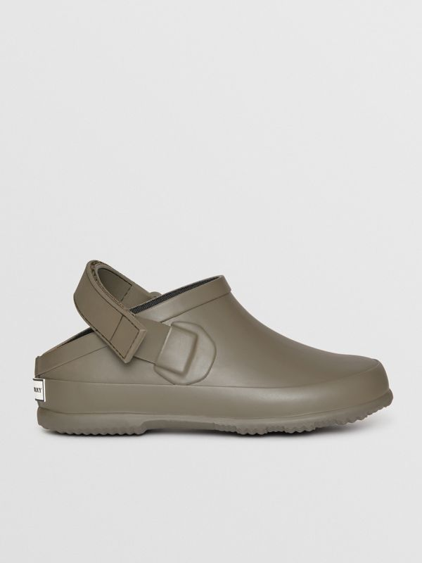Check Detail Rubber Sandals in Dusty Olive - Children | Burberry United States - cell image 3