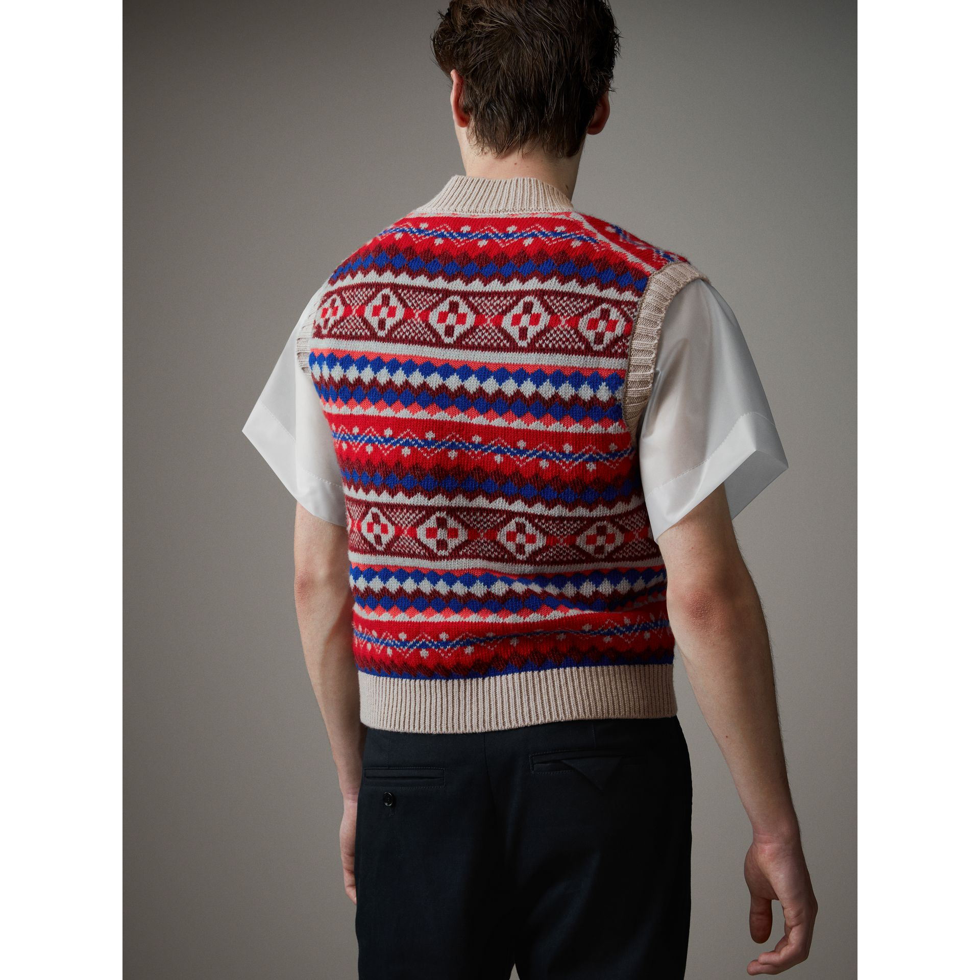 Fair Isle Wool Cropped Tank Top in Oatmeal - Men | Burberry - gallery image 3