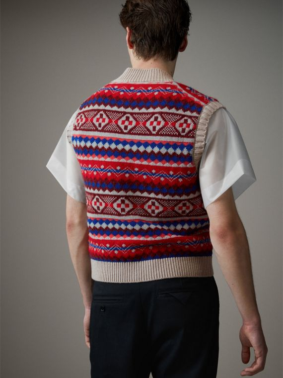 Fair Isle Wool Cropped Tank Top in Oatmeal - Men | Burberry Canada - cell image 2
