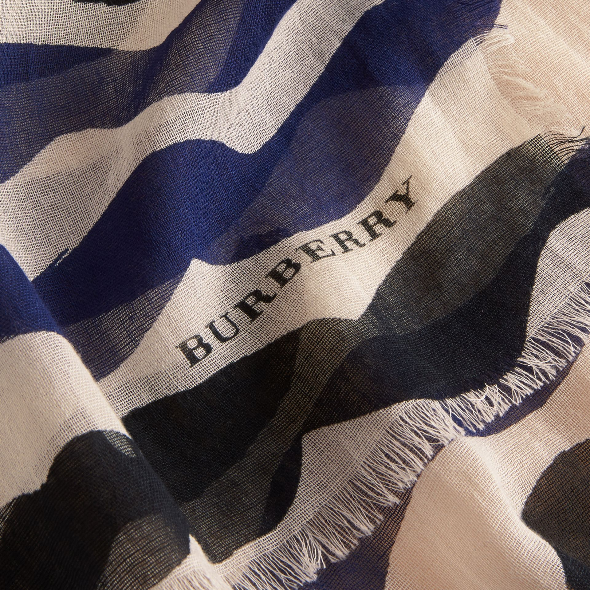 Waves Print Cotton Cashmere Scarf Bright Navy - gallery image 2