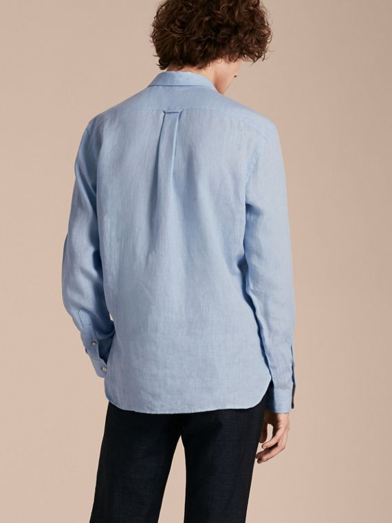 Check Detail Linen Shirt in Pale Blue - Men | Burberry - cell image 2