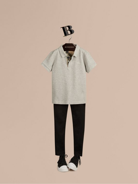 Check Placket Polo Shirt in Pale Grey Melange