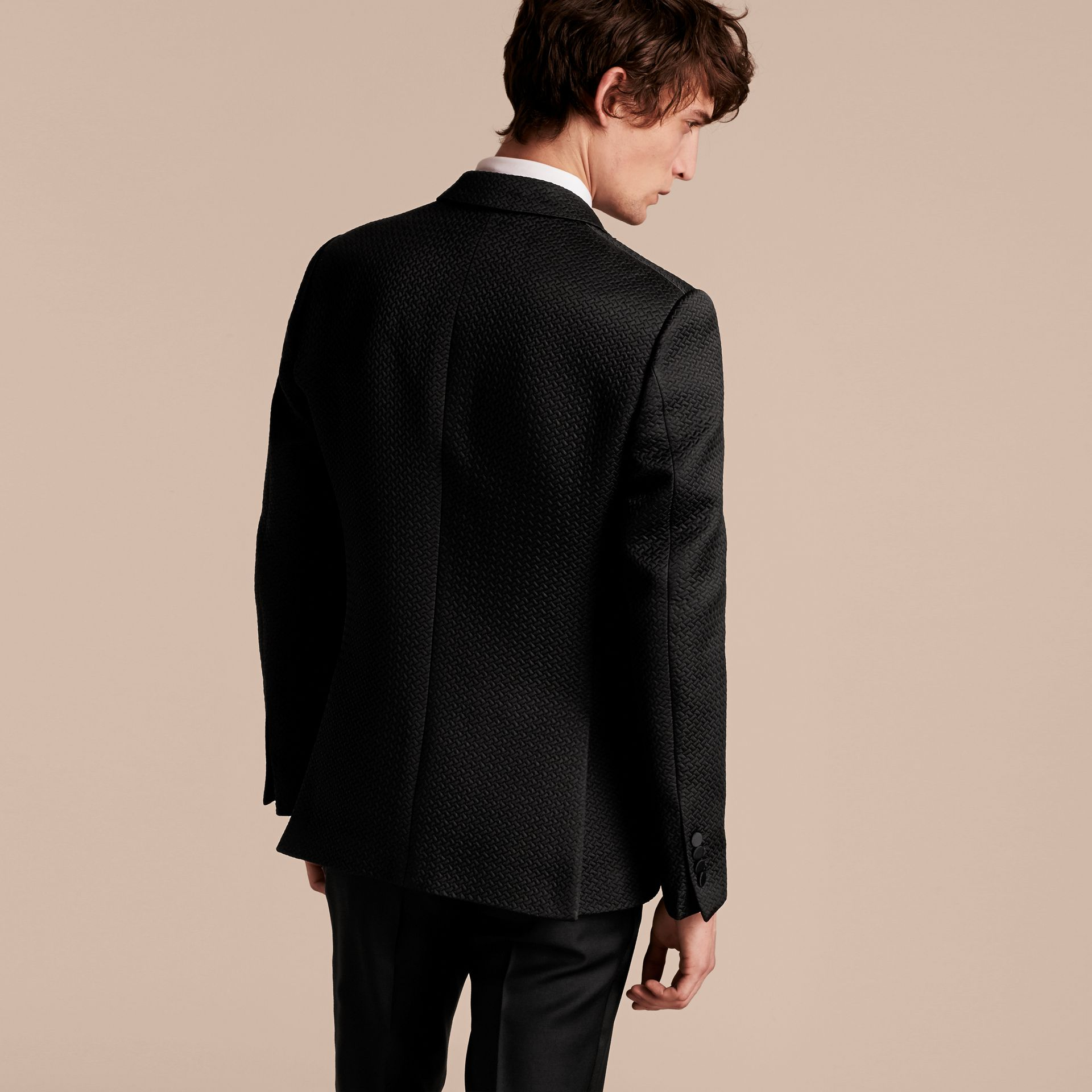 Black Slim Fit Textured Cotton Silk Blend Tailored Jacket - gallery image 3