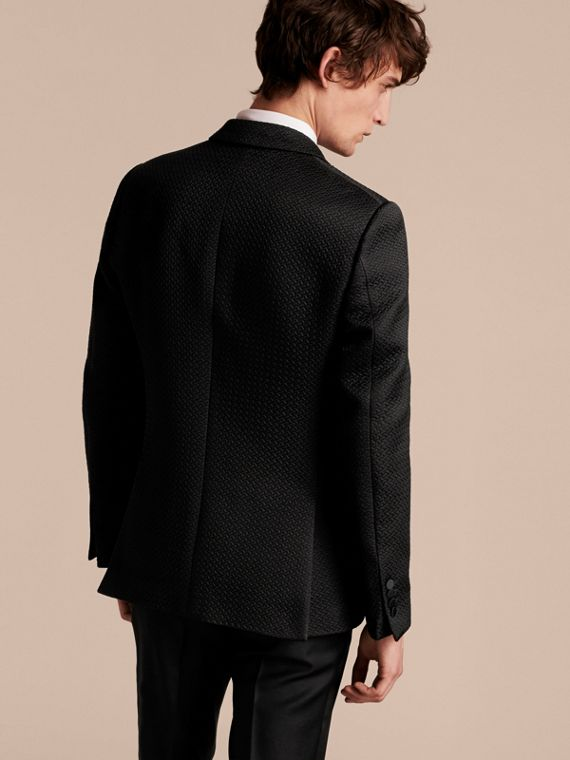Black Slim Fit Textured Cotton Silk Blend Tailored Jacket - cell image 2