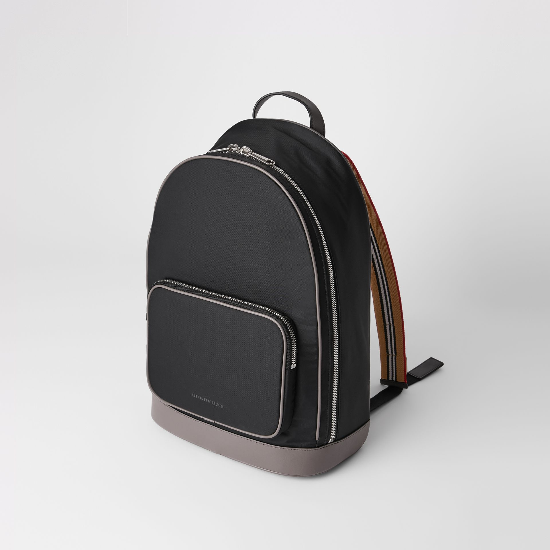 Icon Stripe Detail Nylon Backpack in Black - Men | Burberry United Kingdom - gallery image 3