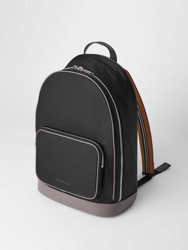 Icon Stripe Detail Nylon Backpack in Black - Men | Burberry - cell image 3