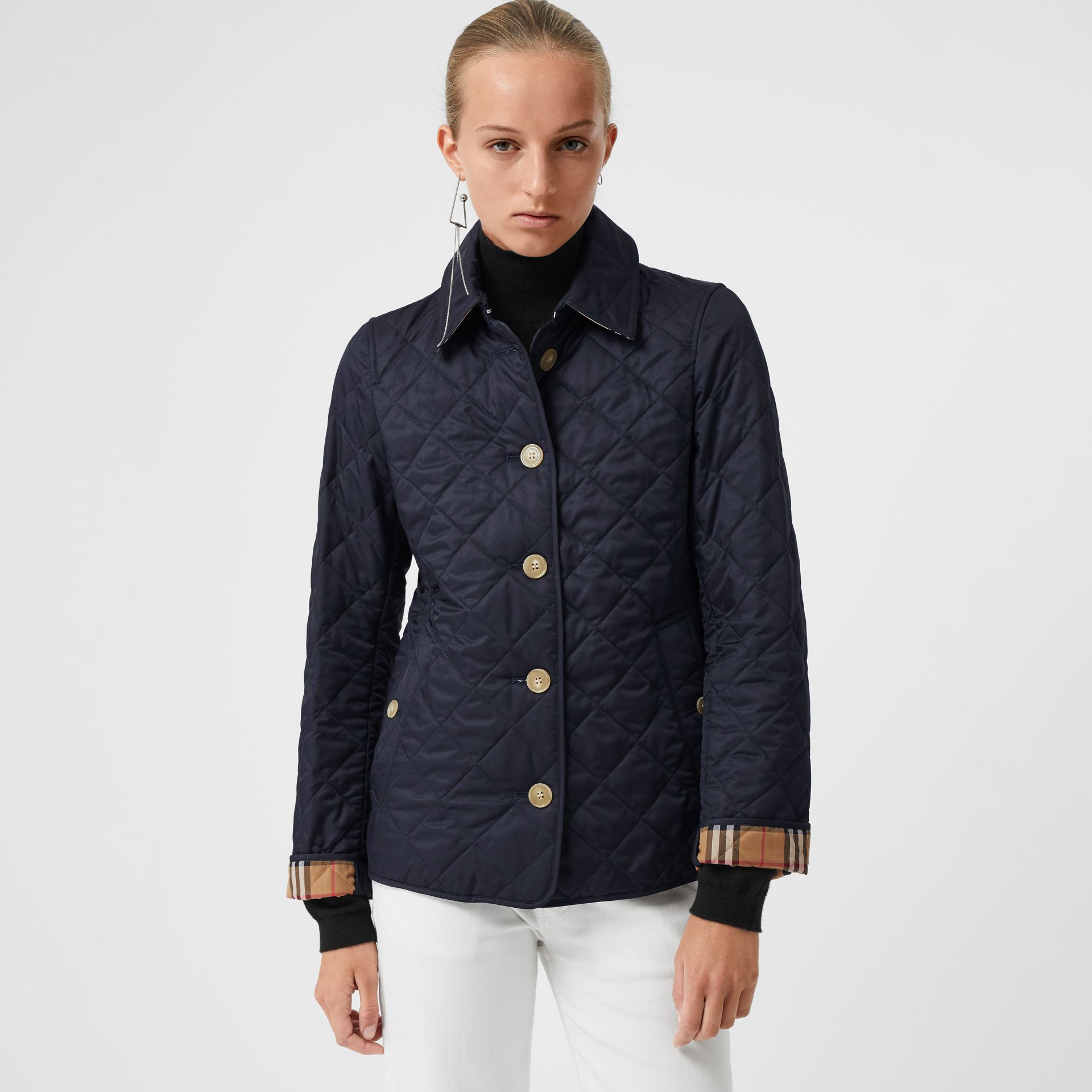 Diamond Quilted Jacket in Navy - Women | Burberry United Kingdom - gallery image 5