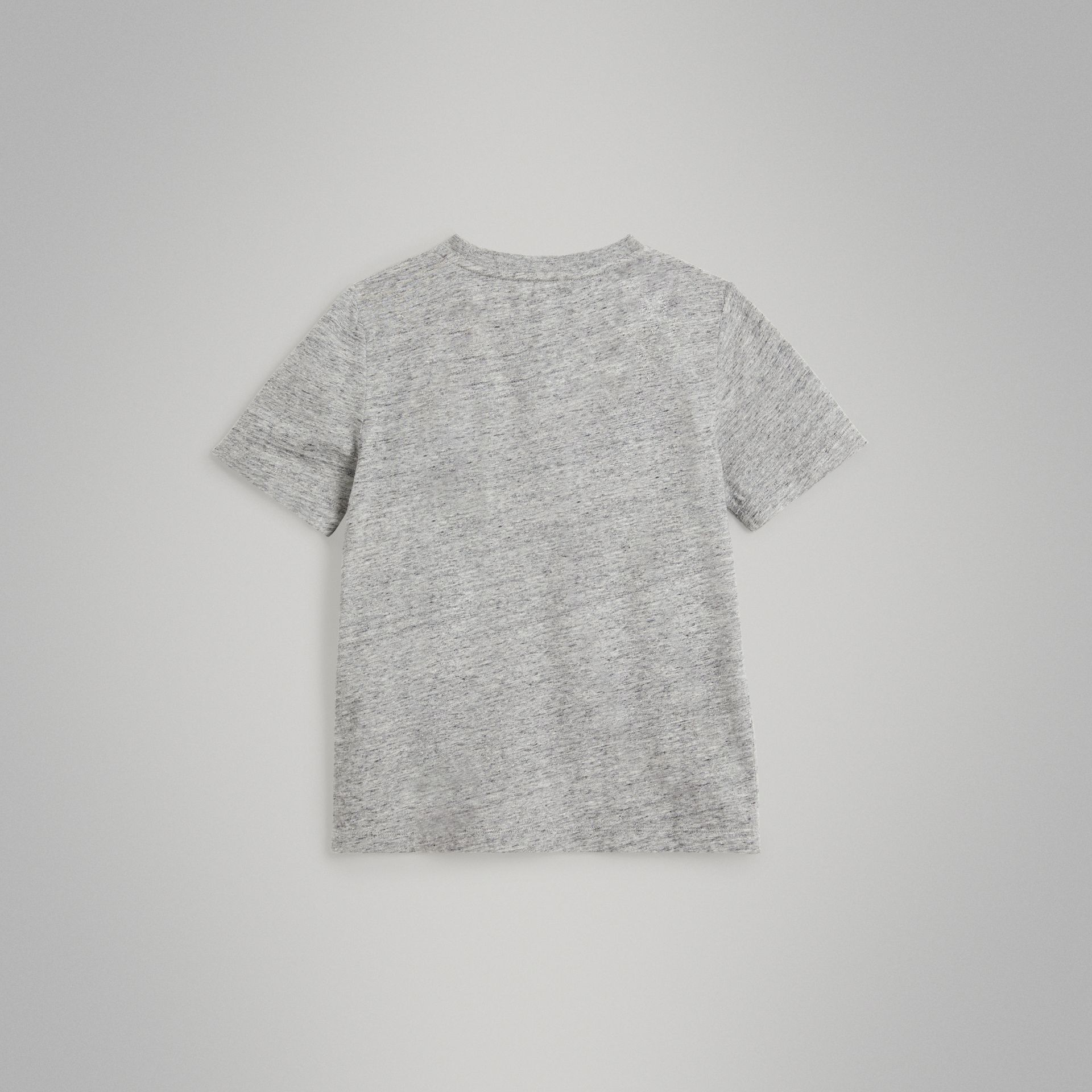 Logo Print Cotton Blend T-shirt in Grey Melange | Burberry - gallery image 3