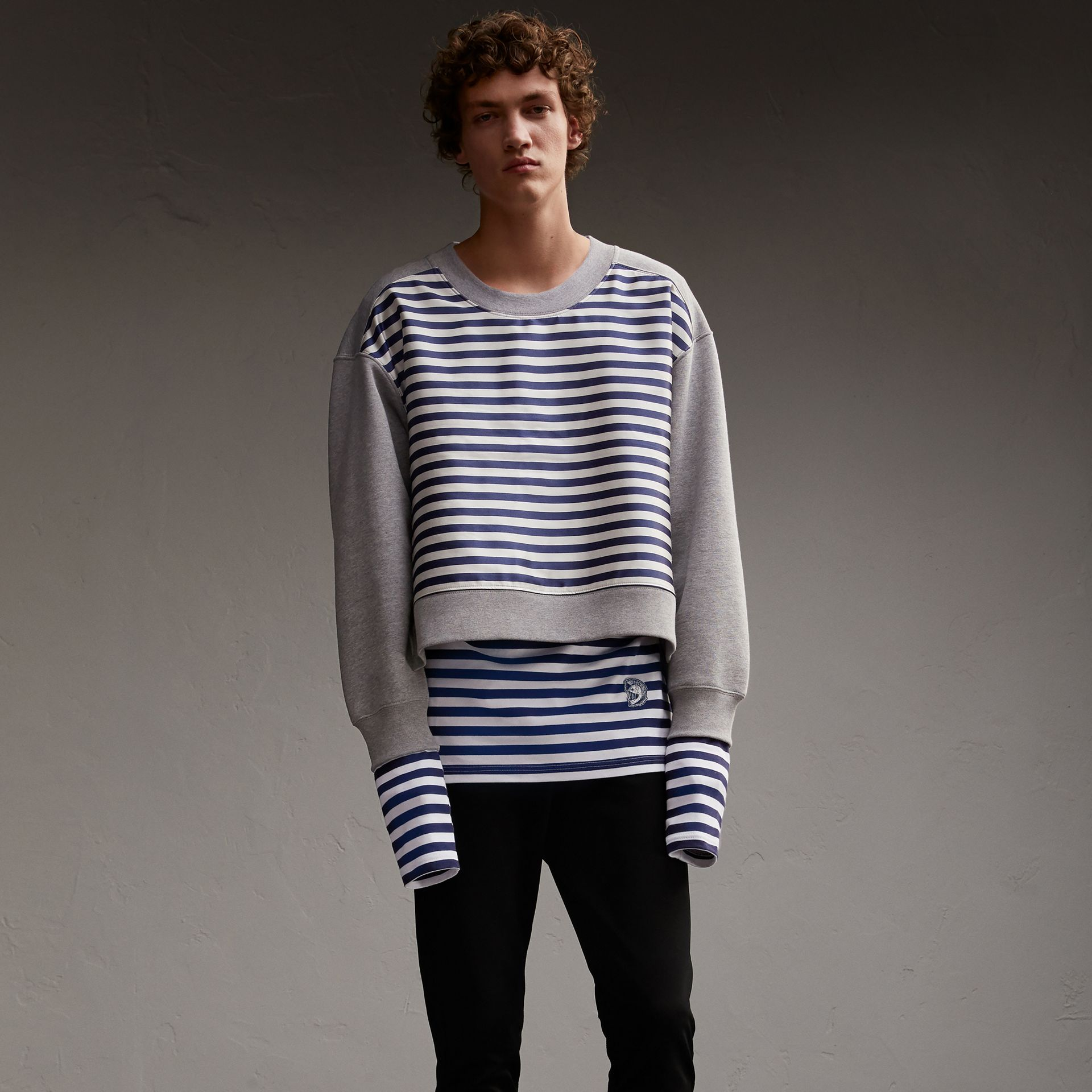Unisex Striped Silk Cotton Panel Sweatshirt - Men | Burberry - gallery image 1