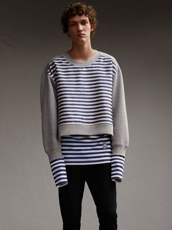 Unisex Brushed-back Jersey Sweatshirt with Striped Silk Cotton Panel