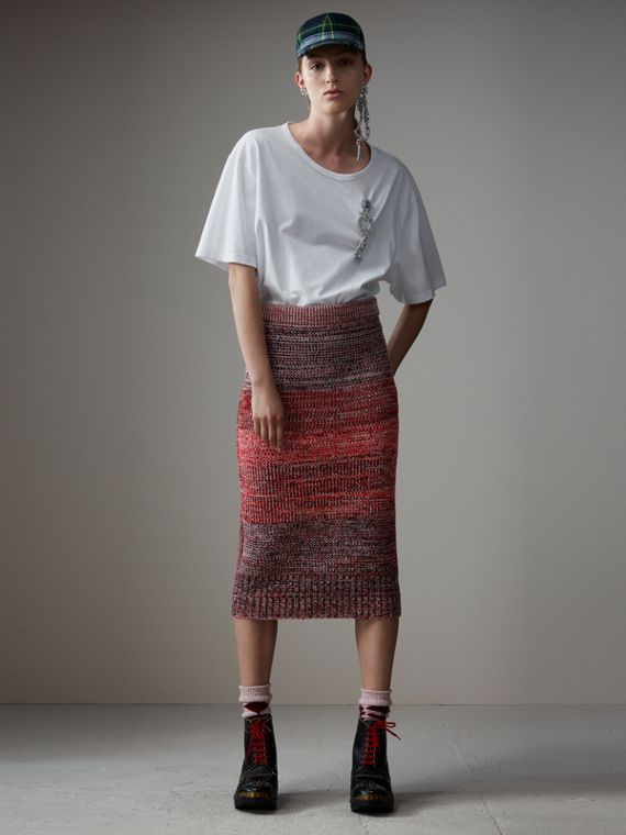 Cashmere Cotton Wool Blend Mouliné Skirt in Red/black