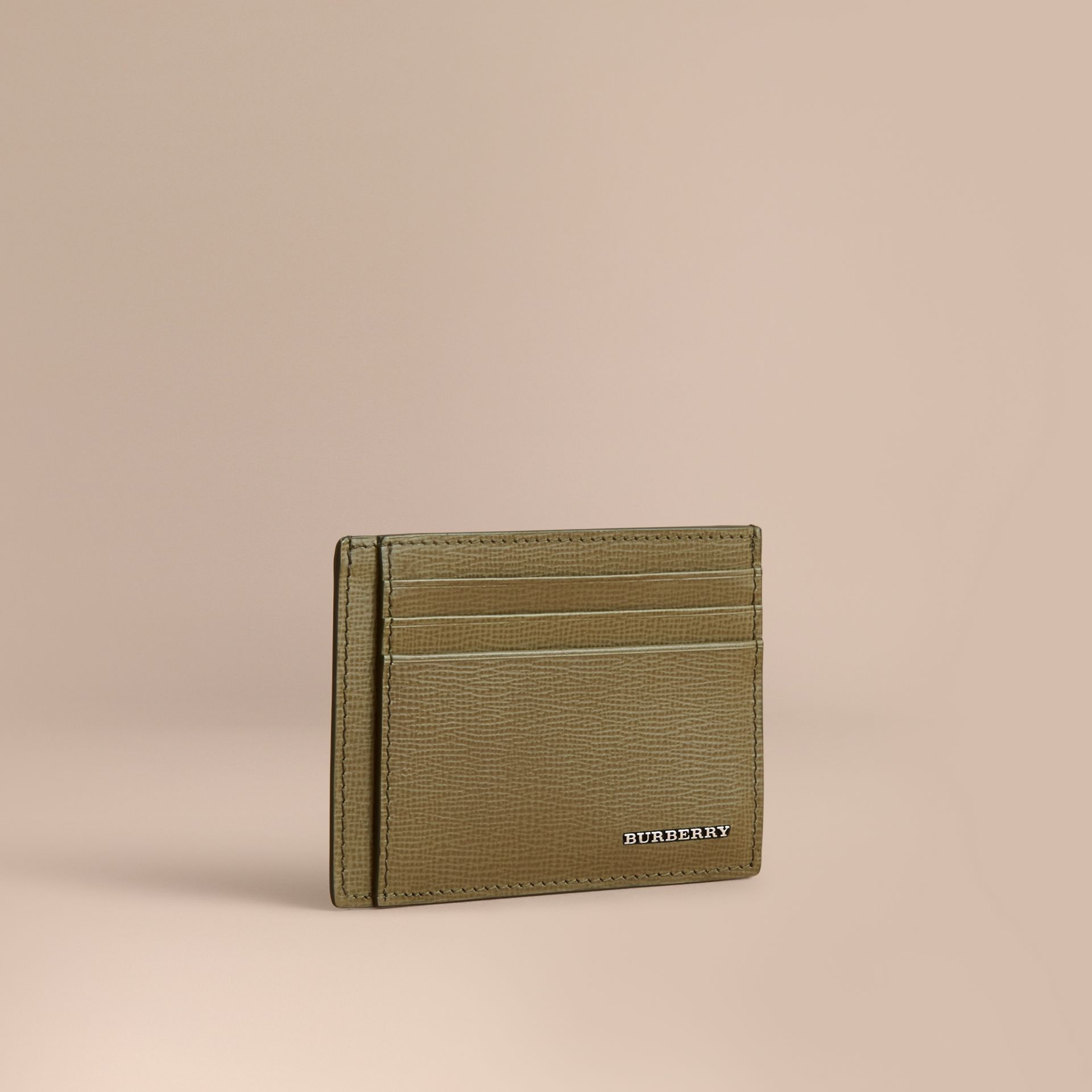 London Leather Card Case in Olive Green | Burberry - gallery image 0